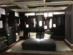 Love this ikea closet.  Without the benches and an ottoman instead!
