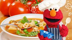 Elmo's Red Veggie Alphabet Soup