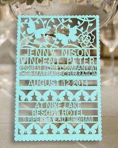 100pcs customer laser cut wedding invitation