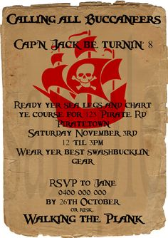Custom Pirate Boy Birthday Party Invitation 5x7 by AliceandEvie, $9.00