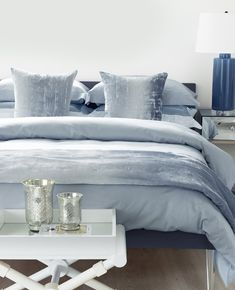 True blue style. 💙 We've added a new colourway to our best-selling Simone collection: Mineral Blue. What do you think of this shade? Blue Pillow Cases, Blue Pillows, Luxury Bath, Luxury Shop, Cushion Covers, Duvet Covers, Romantic Beds, Between The Sheets, Blue Duvet