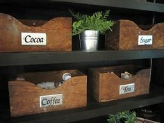 Top section of Coffee Bar {The wooden boxes are very old from her Grandfather's carpenters tool box. They hold cocoa packets, sugar packets, K cups and tea bags. } (1) From: Sew Many Ways (2) Webpage has a convenient Pin It Button
