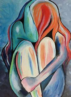 Sad figure by Venetzia Villa Pastel Artwork, Oil Pastel Art, Sad Paintings, Cool Art Drawings, Diy Canvas Art, Portrait Art, Watercolor Art, Love Painting, Painting Art