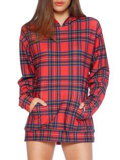 Tartan Red Hoodie - LIMITED (WW ONLY $150AUD) by Black Milk Clothing Black Milk Clothing, Mini Dress With Sleeves, Red Hoodie, Dresses With Leggings, Winter Wardrobe, Tartan, Style Me, Dresser, Death