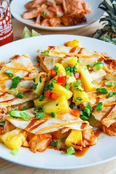 Try these Teriyaki Salmon and Pineapple Quesadillas for a bit of island flavor at the dinner table! Teriyaki salmon and pineapple quesadillas with fiery sriracha and plenty of melted cheese! Salmon Recipes, Fish Recipes, Seafood Recipes, Mexican Food Recipes, Cooking Recipes, Healthy Recipes, Pineapple Recipes, Pineapple Fruit, Fish Dishes