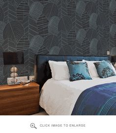 """Wallpaper Republic Byronian Hills Slate Blue Wallpaper $265 Single roll measures 27"""" x 32' 9"""" (72 cm x 10m). 27"""" repeat. Straight match. Class A double-layered non-woven wallpaper... This means that it is not the wallpaper that has to be pasted, but the wall, so you can forget the hassle with the wallpapering table. The material is washable, and can be removed again easily, even after years.  All Wallpaper Republic products are custom print to order and ship in 10-14 days."""