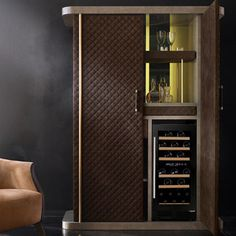 Italian Designer Quilted Nubuck Drinks Cabinet at Juliettes Interiors. Tall Cabinet Storage, Locker Storage, Brass Hinges, Drinks Cabinet, Wine Chiller, Glass Holders, Home Collections, Contemporary Design, Design Trends