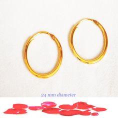 kapa gold tone round chunky tube light patterned hoop earrings 2.4 cm