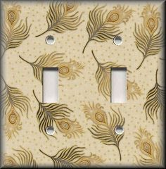 Light Switch Plate Cover - Golden Peacock Feathers - Home Decor Peacocks