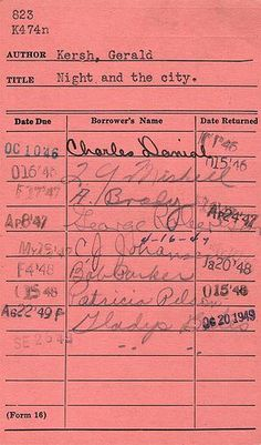 "The ""old days"" library cards...remember checking books out of the library this way?"