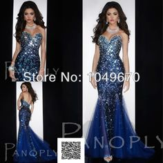 Luxury 2014 Blue Sweetheart Crystal Mermaid Evening Dresses Formal Sequin Lace Floor Length Prom Dress Pageant Gowns N506