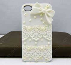 iphone cover  white  bow  white case  lace case  by dnnayding, $20.99