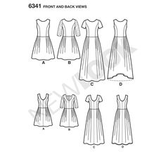 this misses' dress with princess seams and scoop back is perfect for any occasion. dress can be just above the knee with or without lace sleeves, floor length with short sleeves, or sleeveless with floor length high low.