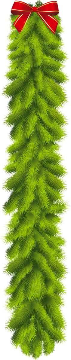 Transparent_Christmas_Pine_Garland_with_Red_Bow_Clipart.png (252×1280)