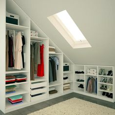 Attic Bedroom Closets, Attic Bedroom Storage, Attic Master Bedroom, Attic Bedroom Designs, Loft Storage, Attic Wardrobe, Upstairs Bedroom, Closet Bedroom, Loft Conversion Bedroom