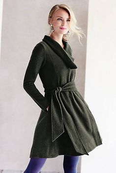 Shawled Wool Sweater Coat - LOVE THIS! The neckline is beautiful with the knot in front.