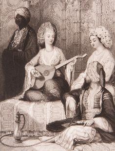 """Harem Gravür-William Henry Bartlett tarafından çizilmiş, Miss Julia Pardoe'nin 1838 yılında Londra'da basılan """"The Beauties of the Bosphorus"""" adlı meşhur seyahatnamesinde yer almış orijinal çelik baskı gravür. Bu seyahatname Osmanlı gündelik yaşamı ve İstanbul güzelliklerini anlatmakta olup 19. yüzyıl Avrupası'nın en çok ilgi çeken kitaplarından biri olmuştur."""