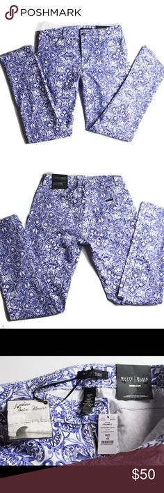 NWT White House Black Market Size 4 Slim Fit Pants This is for a pair of slim fit ankle pants from White House Black Market. New With Tags. Size 4. The inseam is just over 29 inches. They have a blue and white paisley pattern. White House Black Market Jeans