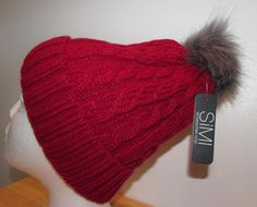 Women Red Chunky Knit Toque Winter Hat Ski Hat Faux Fur Pom Pom New NWT #Simi #BeanieWinterHat Ski Hats, Faux Fur Pom Pom, Women's Accessories, Knitted Hats, Skiing, Beanie, Knitting, Red, Fashion