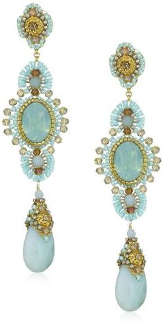 Miguel Ases Amazonite Long Drop Earrings