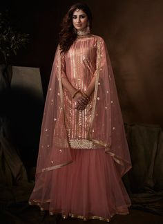 Pink Sequin, Gold Sequins, Blush Pink, Pink Soft, Dusty Pink, Indian Dresses, Indian Outfits, Sharara Suit, Anarkali Suits