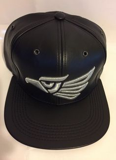 Echo en Mexico Snapback Hat Black Synthetic Leather Silver Embroider Cap   fashion  clothing   ad08c34f0