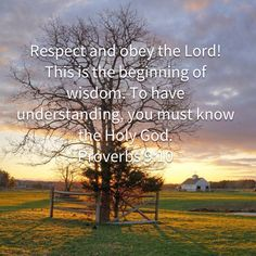 Proverbs Respect and obey the LORD! This is the beginning of wisdom. To have understanding, you must know the Holy God. Inspirational Bible Quotes, Biblical Quotes, Bible Verses Quotes, Prayer Scriptures, Prayer Quotes, Proverbs Verses, Christian Warrior, Soli Deo Gloria, Christian Verses