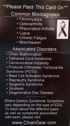 Ehlers Danlos Syndrome Pass It On Cards - Chiari Gear