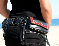 "Leather Utility Hip Belt _""MoulinRouGe""_High Quality Handmade Designer Pocket Belt 4 Gypsy/Nomad/Urban Lifestyle [Festival.Travel.Hip Purse] on Etsy, £74.79"