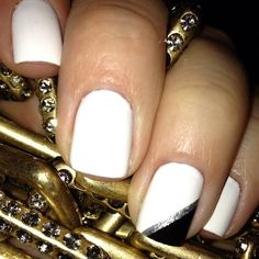 easy nail art - white with one accent nail (white and black with a silver stripe)