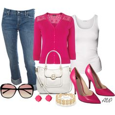 Pink - Bold Cardigan and Shoes by amy-phelps on Polyvore