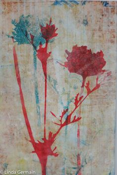Flower Power - inspired Monotype Print - Linda Germain Printmaking using a traditional stencil with the hole in it for the red flower