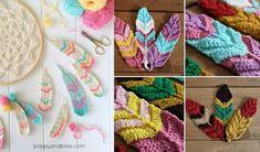 Crochet Feathers Peacock Crochet, Crochet Feather, Crochet Birds, Free Crochet, Knit Crochet, Crochet Snowflakes, How To Make Clothes, Tunisian Crochet, Crochet Projects