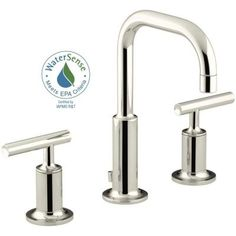 KOHLER Purist 8 in. Widespread 2-Handle Low-Arc Bathroom Faucet in Vibrant Polished Nickel with Low Gooseneck Spout-K-14406-4-SN - The Home Depot