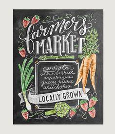 Farmer's Market Sign Chalkboard Sign Spring by LilyandVal