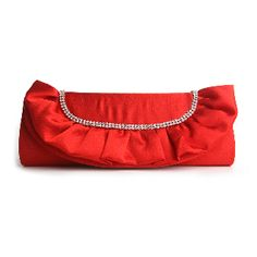 Satin Clutch Purse with Ruffle & Rhinestone Prom Jewelry, Clutch Purse, Satin, Purses, Bridal, Bags, Fashion, Handbags, Handbags