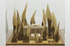 """Goshka Macuga  """"The White House Made from Moscow"""" (detail)  2010  Wood and acrylic  53 3∕4 × 18 1∕4 × 18 1∕4 in. (136.5 × 46.4 × 46.4 cm)  Collection of Rex and Jeanne Sinquefield  Photo: Thomas Müller, courtesy of the artist; Andrew Kreps Gallery, New York; Kate MacGarry Gallery, London; and Galerie Rüdiger Schöttle, Munich"""