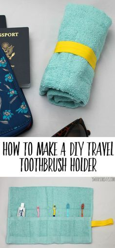 A tutorial for how to make a DIY Travel Toothbrush Holder from a hand towel - perfect gift to sew for someone who travels and super fast! #diytoothbrushholder #beginnersewingprojects