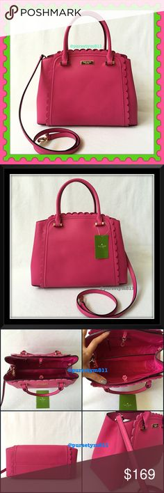"""Authentic Kate Spade Leather Bag % AUTHENTIC‼️ Gorgeous pink leather handbag from Kate Spade. Lightweight and very spacious. Length 12 1/2"""" Height 9 1/2"""" Width 5 1/2"""" w/ detachable long strap. Very versatile. Shoulder and top handle bag. 3 pockets inside. Yellow gold tone hardware. STUNNING No trade ❌ Kate Spade Bags Satchels"""