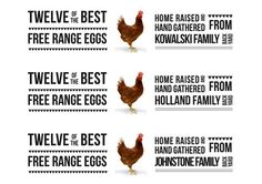 Personalised Egg Carton Labels. PDF Version To Print On A4 Sticker Paper