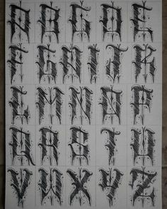 No photo description available. Tattoo Lettering Alphabet, Graffiti Alphabet Fonts, Tattoo Lettering Styles, Graffiti Lettering Fonts, Chicano Lettering, Calligraphy Tattoo, Tattoo Script, Letter Tattoos, Script Lettering