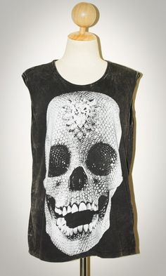 Crystal Diamond Skull Halloween Bleached Black Sleeveless Art Indie Punk Rock T-Shirt Size L