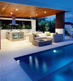 Lounge ecksofa garten  terrasse garten holz dielenboden outdoor küche überdachung ...