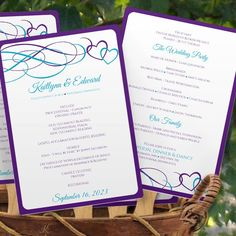 Program Fan Template   Beloved Hearts (Purple & Malibu -Teal Blue) – Karma K. Weddings