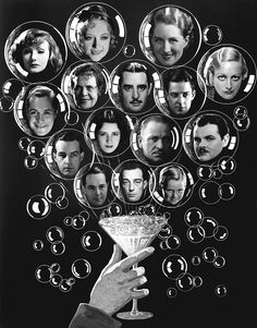 Metro-Goldwyn-Mayer stars, December 1930. Top row, Greta Garbo, Marion Davies, Norma Shearer, Joan Crawford, second row, Robert Montgomery, Marie Dressler, John Gilbert, Ramon Novarro, third row, Alfred Lunt, Lynn Fontanne, Wallace Beery, Lawrence Tibbett, bottom row, William Haines, Buster Keaton, and Jackie Cooper.
