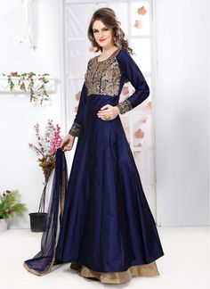 Regal Art Silk Embroidered Cream and Navy Blue Floor Length Designer Suit