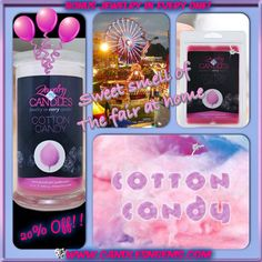 "Scent Of The Month - COTTON CANDY Enjoy 20% off the scents voted ""favorite"" by customers! www.candlesngems.com   #Cotton #Candy #Jewelry #Candle #Tart"