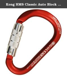 Kong HMS Classic Auto Block (Red). Aluminium connector with 3 actions Auto Block sleeve and Keylock system. The classic wide pear shape makes it suitable for belay with clove hitch. Can be used with all anchoring and belaying systems. Automatic sleeve makes it suitable for professional use. Equipped with Keylock system that prevents any snagging with the rope and in the bolts. High quality product completely developed and produced in Italy. Tested piece by piece.