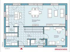 Grundriss EG | Das würde auf jeden Fall funktionieren. Fehlt nur der Kamin im Wohnzimmer.