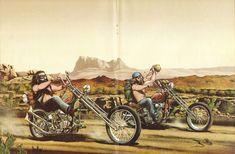 David Mann ''Desert Run'' 16'' x 20'' Matted Motorcycle Biker Art #7808ezrxm